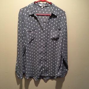 Express Portofino gray white polka dotted XL shirt